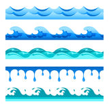 Seamless blue water wave vector bands set for footers, patterns and textures.  vector illustration