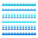 Seamless blue water wave vector bands set for footers, patterns and textures Royalty Free Stock Photos