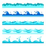 Seamless blue water wave vector bands set for footers, patterns and textures.  royalty free illustration