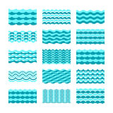 Seamless blue water wave vector tiles set for patterns and textures Stock Photography