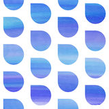 Seamless blue watercolor pattern. With rain water drops Vector Illustration
