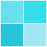 Seamless blue wave patterns Royalty Free Stock Photos