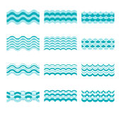 Seamless blue wave vector patterns. Wave blue pattern sea and element water wave set illustration Stock Image