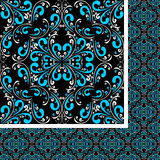 Seamless blue-white damask Pattern on black. Stock Images