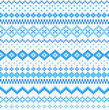 Seamless blue and white knitted background Stock Photos