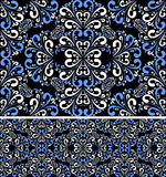Seamless blue-white Pattern on the black Background. Royalty Free Stock Photo