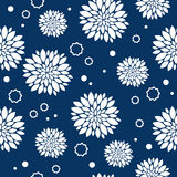 Seamless blue and white pattern with flowers Stock Images
