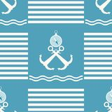 Seamless blue and white sea pattern with anchors and compasses Stock Photography