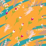 Seamless blue and yellow pattern with angels and tulips royalty free illustration