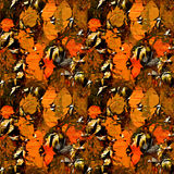 Seamless blurred pattern with autumn leaves on a metal background Stock Photo