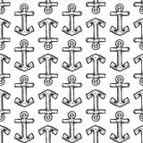 Seamless boat anchor vector background Stock Image