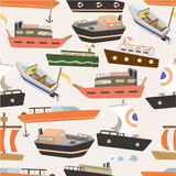 Seamless boat pattern. Vector drawing Royalty Free Stock Photo