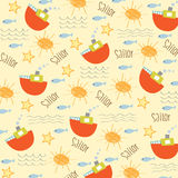 Seamless boat pattern Royalty Free Stock Images