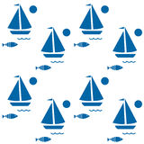 Seamless boat print background. Seamless boat marine print Stock Photos