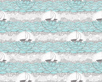Seamless boat and sea pattern. Cute background for Stock Image