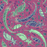 Seamless boho pattern with feathers. Royalty Free Stock Images