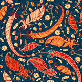 Seamless boho pattern with feathers. Royalty Free Stock Photo