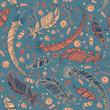 Seamless boho pattern with feathers. Stock Image