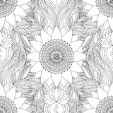 Seamless pattern lotus mandala. Seamless boho pattern. Stylized floral background with black and white lotus flowers, mandalas, and waves. Ethnic design in royalty free illustration