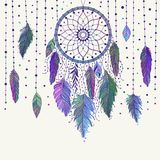 Colorful dreamcatcher and feathers. Colorful hand drawn dreamcatcher with floral details and feathers, vector illustration, can be used for boho art design stock illustration