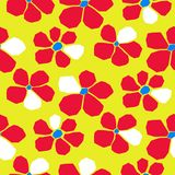 Seamless bold bright cutout flower pattern. Deep red and green repeat background cut out petals royalty free illustration