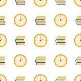 Seamless book pattern time clock vector. School supplies learning equipment and different school books supplies colorful office accessories. Cartoon book and royalty free illustration