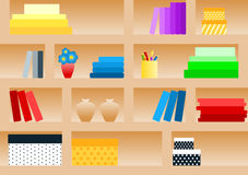 Seamless Book Shelf Pattern. Seamless book shelf with boxes, books, crayons and vases Royalty Free Stock Photography