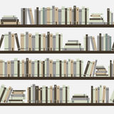 Seamless books, seamless pattern with books, library bookshelf, library, bookstore, books on a shelves in library, flat books, stock illustration