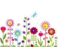 Seamless border with abstract  spring flowers Stock Photography