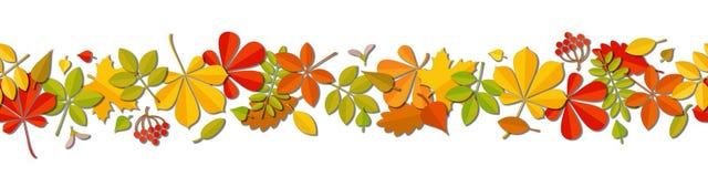Seamless border Autumn falling leaf background isolated on white. Royalty Free Stock Photos