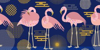 Creative flamingo pattern. Seamless border with birds and geometric ornaments inspired by 1980-1990s design. Vector print with Japanese, Chinese, Korean motifs royalty free illustration