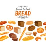 Seamless border with bread Royalty Free Stock Photography