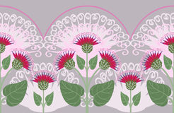 Seamless border with burdock flowers Royalty Free Stock Photos
