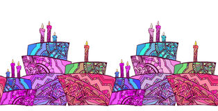 Seamless border with cake decorated with boho pattern. Stock Photo