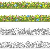 Seamless border of cartoon grass and flowers. Stock Images