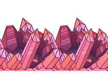 Seamless border with cartoon pink crystals. Royalty Free Stock Photos