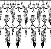 Seamless border with Chains and feathers Royalty Free Stock Image