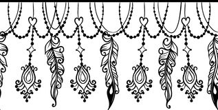 Seamless border with Chains and feathers Stock Images