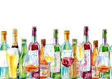 Seamless border of a champagne,cognac, wine, beer and glass. Stock Photo