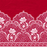 Seamless border in the Chinese style. Pattern of white flowers and curls on a red textured background. Royalty Free Stock Photos