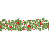 Seamless border from Christmas holly berry. EPS 10 vector Royalty Free Stock Image