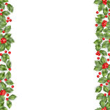 Seamless border from Christmas holly berry. EPS 10 vector Stock Photos