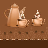 Seamless border coffee theme Stock Image