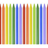 Seamless border of colored pencils, crayons on white background royalty free stock photos