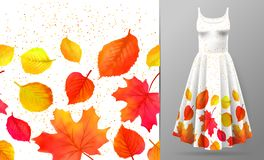 Seamless border of colorful autumn leaves isolated on dress mockup. Vector illustration Royalty Free Illustration