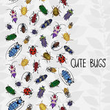 Seamless border with colorful bugs. Seamless border with colorful bugs and place for text. Bright vector drawing of small beetles. Insect on the background with Stock Image
