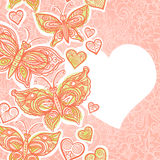 Seamless border with colorful butterflies, flowers and hearts. Stock Images