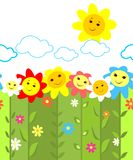 Seamless border with colorful funny flowers Stock Image