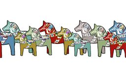 Seamless border crowded with horses stock illustration