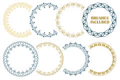 8 seamless border for decoration and design. (Brushes included).  Royalty Free Stock Images